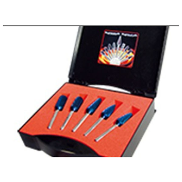 Rotary burrs kit, Ø 12 mm, shank 6 mm, HP-3-CUT, BLUE-TEC-coated